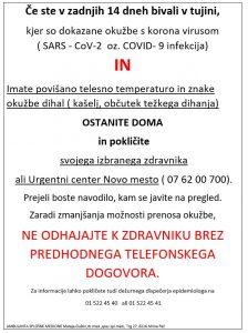Informacija o KORONAVIRUSU